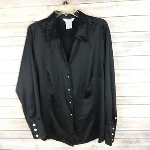 George Womens Plus Satin Like Button Down Top